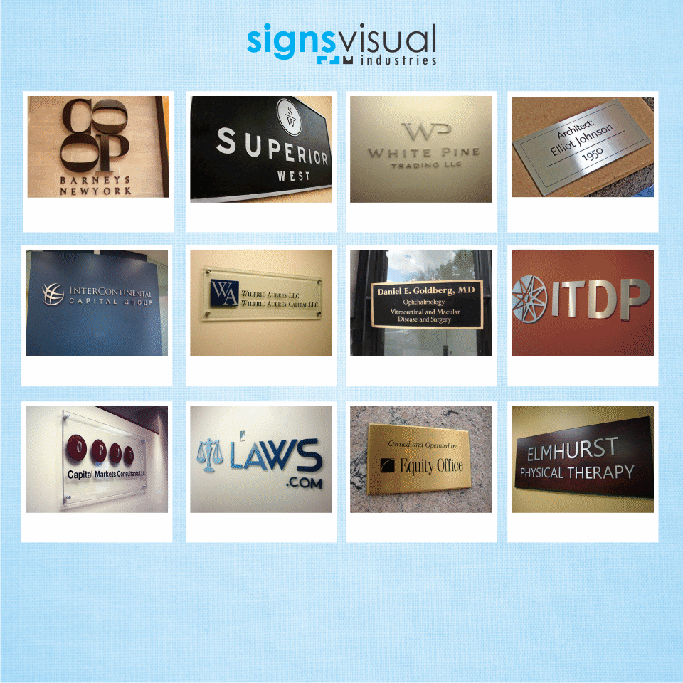Wall Sign NYC | Interior Office Signage for Lobby and Reception in ...